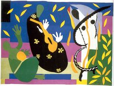 Matisse - Sorrows of the King - From the Paper Cutout series.  These are jazz musicians that I coped on my wall down to the basement.