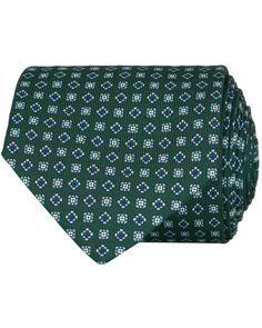 E. Marinella 3-Fold Printed Micro Pattern 8 cm Silk Tie Dark Green osoitte