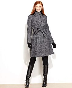 Calvin Klein Coat, Double-Breasted Tweed Belted - Womens Coats - Macy's
