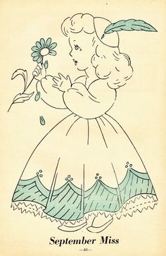 """vintage greyThis darling girl """"September Miss"""" is from The Workbasket magazine September 1951 issue. Each issue in 1951 has a monthly character that you could trace to color or embroider."""