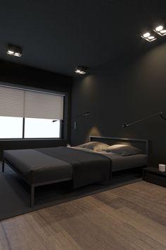 Adorable 38 Chic And Warm Minimalist Bedroom Interior Ideas For Feel Comfort Black Bedroom Design, Black Interior Design, Bedroom Black, Home Room Design, Bedroom Designs, Interior Ideas, Interior Modern, Bed Design, Design Kitchen