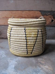 Vintage Woven Tribal African Basket with Lid  by PortlandRevibe