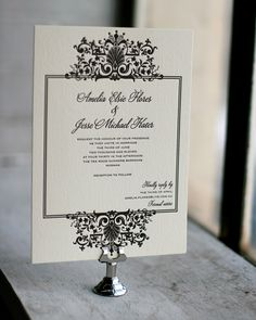 Elegant #black and #white #wedding #invitation