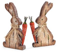 Foam Wood Veneer Bunny - Assorted Price is for one bunny. Bunnies face left or right, otherwise are the same. Bunny available will be shipped.  Brown foam wooden veneer bunnies with carrot