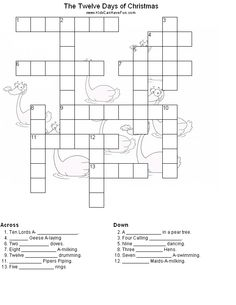 Twelve Days of Christmas Crossword Puzzle