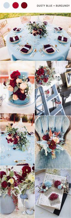 Dusty blue and burgundy wedding color palette idea / http://www.deerpearlflowers.com/dusty-blue-wedding-color-combos/ #weddingcolors #weddingideas #bluewedding #dustyblue #BurgundyWeddingIdeas