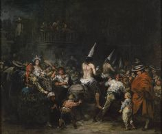 'Condemned by the Inquisition' - Author Lucas Velázquez, Eugenio - Procedence: Acquisition from Enrique García Herráiz, 1984 -- Riding donkeys and wearing dunce caps, the accused  are paraded in front of the crowd, whom shower them with insults and sometimes blows.  The tenebrism use of light and the very vibrant impasto brushstrokes make for a clearly expressionist result in open conflict with the academicism prevalent when this painting was made.