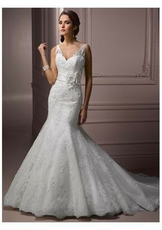 Lace Appliqued Tulle Sleeveless V-neck and V-Back Rouched Waistband with Intricate Embellishment Mermaid Skirt with Chapel Train Wedding Dress