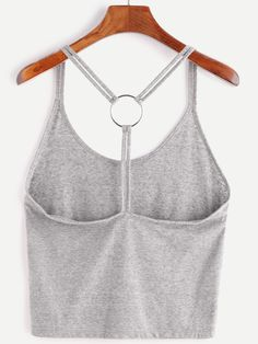 2bb15d433c920 Heather Grey Ring Accent Back Cami Top