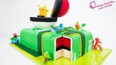 Pokemon Go Cake- Pikachu defying gravity on top of this pokemon cake!