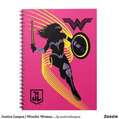 Customizable Spiral Notebook made by Gotcha Covered Notebooks. Personalize it with photos & text or shop existing designs! Justice League Wonder Woman, Dc Comics Superheroes, Wonder Woman Logo, Superhero Design, Vintage Office, Woman Silhouette, Iconic Characters, Custom Notebooks, Iconic Women