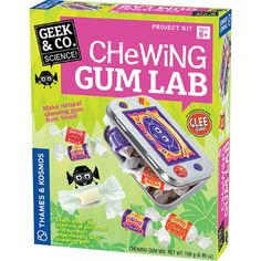 Chewing Gum Lab and thousands more of the very best toys at Fat Brain Toys. Using the included ingredients, a few supplies from home, and the 16-page instruction manual, kids get to create their own batch of yummy chewing gum all while learn about the science of polymers. Satisfy your sweet tooth with science!