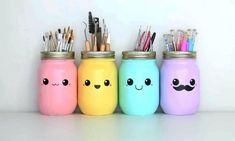kawaii DIY Stifthalter - New Home Decor Pot Mason Diy, Mason Jar Crafts, Mason Jars, Kawaii Room, Kawaii Diy, Diy Tumblr, Diy Décoration, Easy Diy, Cute Crafts