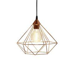 Lámpara de techo de metal con diseño geométrico en color cobre