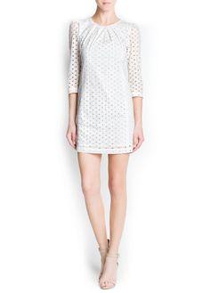 MANGO - NEW - Swiss embroidery cotton dress