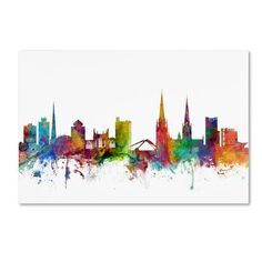 """Trademark Art """"Coventry England Skyline"""" by Michael Tompsett Graphic Art on Wrapped Canvas Size: 12"""" H x 19"""" W x 2"""" D"""