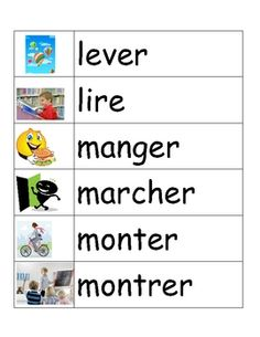 This file contains 135 illustrated French verbs in a word wall format. The verbs range from basic ones, such as aller, arriver, manger, boire to slightly less common ones such as rebondir and nourrir.  There are examples of all 3 verb groups (er, ir, re).   All verbs on the word wall are written in the infinitive form.