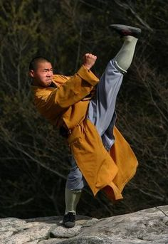 Monks at the Shaolin Temple study Buddhism and the martial art of kung fu.