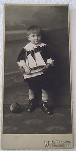 Vintage cabinet photo of German boy with toy boat