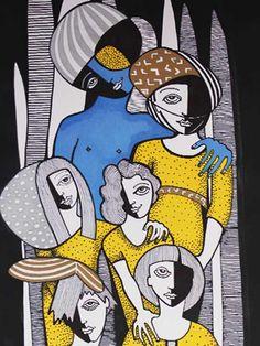 DIBUJO R-19 -  #Acuarela, #Amarillo, #Arte, #Azul, #Dibujo, #Teresa_Cornejo, #Tinta