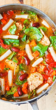 Chicken Vegetable Soup with Pasta: gluten free, healthy, delicious, easy-to-make! Filled with vegetables: spinach, green bell pepper, carrots, tomatoes, and beans. Used gluten free brown rice pasta.