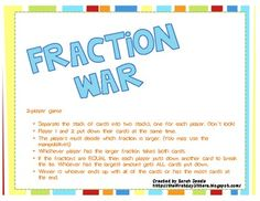Comparing fractions using the old fashion card game that we all grew up playing, War.Students split the game cards and follow the directions on...