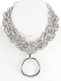 Parisian Chic Necklace Metal Ring Pendant Chunky Chain Choker Link Three Chain Chunky Bold Dangle Drop Statement Bib Silver *** Find out more about the great product at the image link.