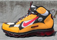 Heavy on cushioning, technical in design, the Nike Air Max Terra Sertig reinstitutes hybrid theory to the ACG gang. A White/University Red-Canyon Gold colorway harkens back to the OG Terra Sertig mode Nike Acg, Nike Air Huarache, Mens Fashion Shoes, Sneakers Fashion, Air Max Boots, Air Max Sneakers, Sneakers Nike, Basketball Sneakers, Funny Shoes