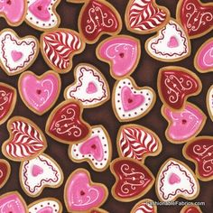 Fabric... Confections Heart Cookies by Robert Kaufman Fabrics