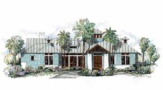Florida Style House Plans - 4 Bedroom and 3 Bath, 2 Garage Stalls
