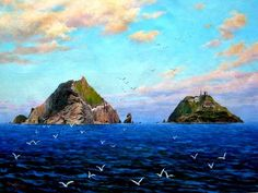 (North Korea) Dokdo island in the East sea by Jo Dong-hae (1942-   ). 조동해.