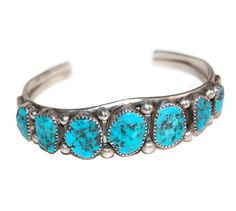E. Yazzie Bisbee Turquoise Cuff Bracelet Vintage by Curiopolis