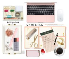 """264: On My Desk."" by kathlynclark ❤ liked on Polyvore featuring interior, interiors, interior design, home, home decor, interior decorating, Kate Spade, AERIN, Ted Baker and Rifle Paper Co"