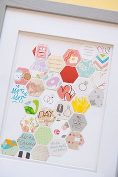 Awesome DIY Keepsake idea for saving your wedding cards, just punch out small pieces of each card!