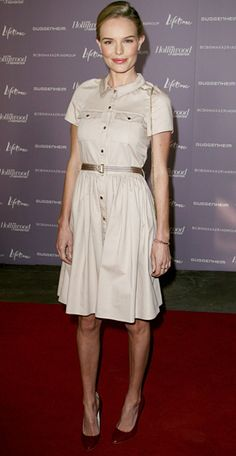 DECEMBER 2011 Kate Bosworth WHAT SHE WORE Bosworth dined at The Hollywood Reporter's Women In Entertainment breakfast in a taupe Mulberry shirtdress and patent leather pumps Casual Summer Dresses, Dresses For Teens, Trendy Dresses, Nice Dresses, Dresses For Work, Chic Dress, Classy Dress, Classy Outfits, Kate Bosworth Style
