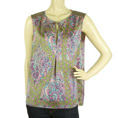 Juicy Couture Multicolored Pink Floral Paisley Sleeveless Blouse Top - Size S