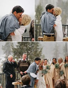 winter wedding. #snow #blankets #bridesmaids #firstkiss