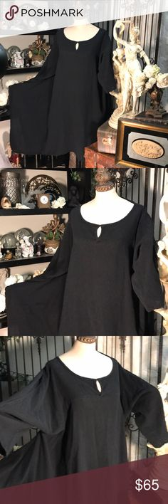 Oh my Gauze black edgy long asymmetric tunic OH MY GAUZE DRESS  Over the top cool & classy  Super flowing with an asymmetrical styling  100% cotton  This is OS but in my opinion for a L or XL Perfect condition Oh My Gauze! Dresses
