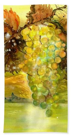Chardonnay Grapes in sunlight Beach Towel by Sabina Von Arx Yellow Bathroom Decor, Large Beach Towels, Autumn Lights, Green Grapes, Beautiful Paintings, Painting Techniques, Sunlight, Colorful Backgrounds, Fine Art America