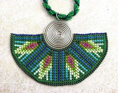 Seed Beaded  Necklace,  Half Moon, Green and Blue Beadwork Necklace, Earth Spirit