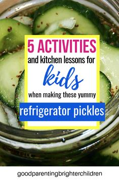 The best refrigerator pickles recipe for kids to make. Easy, simple, quick, and nutritious. Kids will learn about fermentation, vinegar & kitchen science. Use the cucumbers from your garden for a multi-sensory experience. Refrigerator Pickle Recipes, Best Refrigerator, Kids Picnic, Picnic Ideas, Cucumber Benefits, Essential Oils For Kids, Nutrition Tracker, Healthy Snacks For Kids, Kids Nutrition