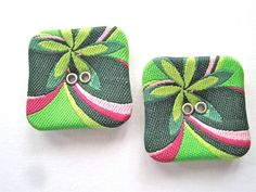 Green Square Fabric Sewing Buttons by FireflyCabin on Etsy, $3.00 #jenbnr #RT