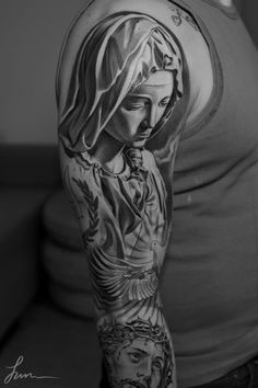 Incredible grey scale tattoos by artist Jun Cha. Mary Magdalene.