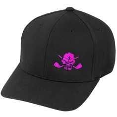 Lucky 13 Skull Hat (Black/Pink) ❤ liked on Polyvore featuring accessories, hats, lucky 13, golf hats, golf cap, logo hats and skull hat