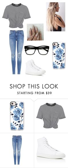 """""""School #11"""" by kendall-bostic ❤ liked on Polyvore featuring Casetify, T By Alexander Wang, Frame and Common Projects"""