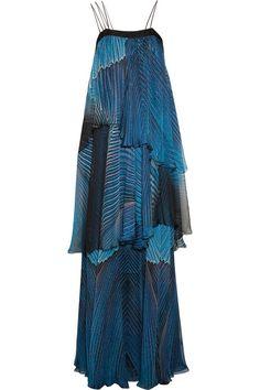 Roberto Cavalli Tiered silk-chiffon gown