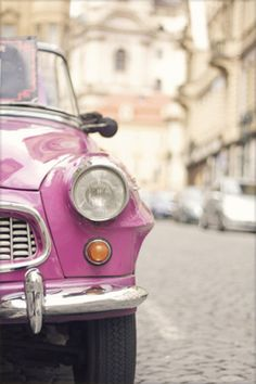 pink-and-only-pink:  Vintage pink car