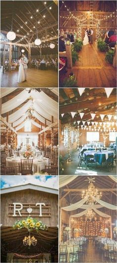 Country Barn Wedding Decor Ideas with lights \/