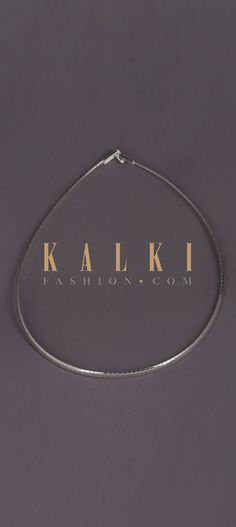 Buy Online from the link below. We ship worldwide (Free Shipping over US$100)  Click Anywhere to Tag Silver-Plated-Choker-Necklace-In-Flat-Chain-Pattern-Online-Kalki-Fashion