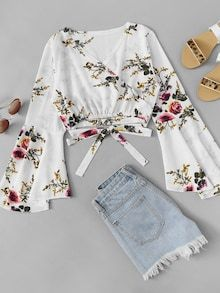 Vacation Knot and Wrap Floral Top Regular Fit V Neck Long Sleeve Pullovers White Crop Length Flounce Sleeve Wrap Floral Top Girls Fashion Clothes, Teen Fashion Outfits, Look Fashion, Trendy Outfits, Fashion News, Girl Fashion, Summer Outfits, Girl Outfits, Fashion Dresses